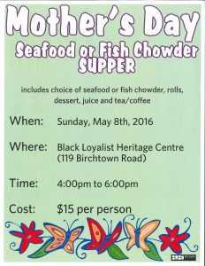 Mother's Day Supper May 8 2016
