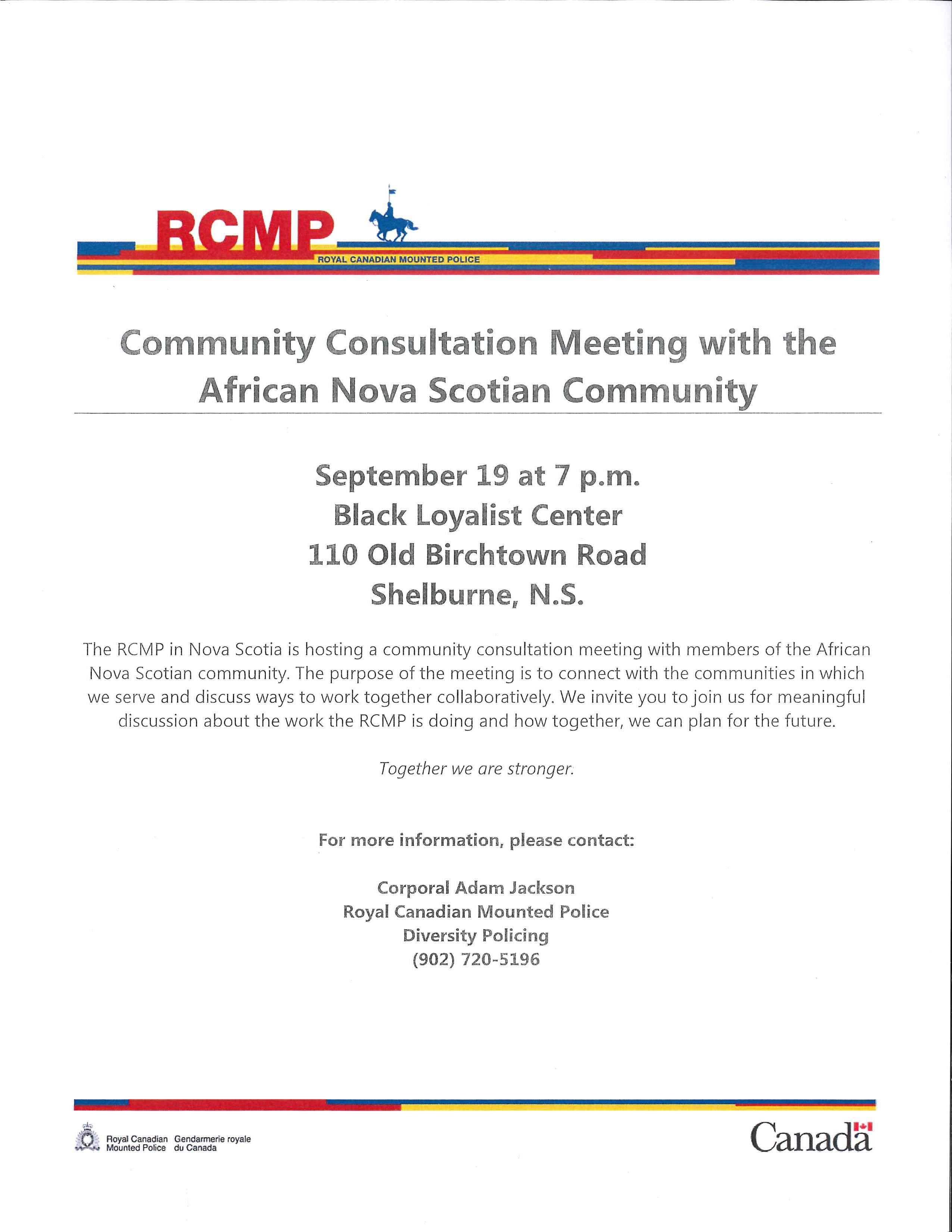Black loyalist heritage society the rcmp in nova scotia is hosting a community consultation meeting with members of the african nova scotian community on september 19 at 7pm at the black solutioingenieria Images